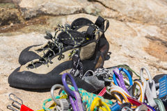Close up of rubber climbing shoe on rock Royalty Free Stock Photos
