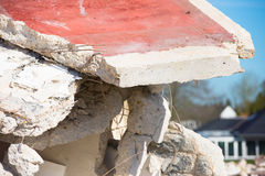 Close up rubble pile demolished house Royalty Free Stock Photography