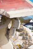 Close up rubble pile destroyed building Stock Photo