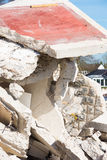Close up rubble pile destroyed house Stock Photos