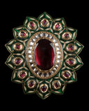 Close up of ruby  pendant or brooch Royalty Free Stock Images