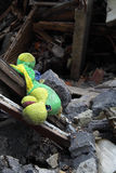 Close up of ruins with toy on foreground. Royalty Free Stock Photo