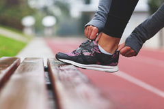 Close-up of running shoe. Getting ready for jogging royalty free stock image