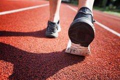 Close up of running shoes in use Royalty Free Stock Photo