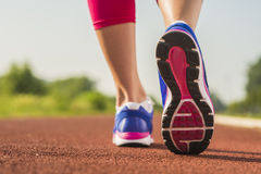 Close up of running shoes in use stock images