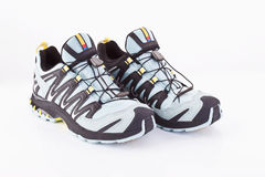 Close up of running shoes on white background Royalty Free Stock Images