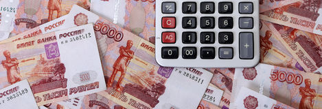 Close-up of russian banknotes and calculator Royalty Free Stock Photo