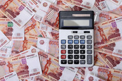 Close-up of russian banknotes and calculator Royalty Free Stock Photography