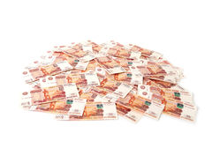 Close-up of russian banknotes. Five Thousand Ruble Notes Royalty Free Stock Image