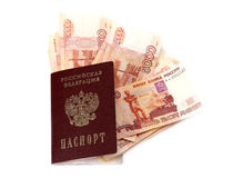Close-up of russian banknotes (Five Thousand Ruble Notes) and passport Royalty Free Stock Images