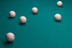 Close-up of Russian billiard, balls on game table cloth Royalty Free Stock Photography
