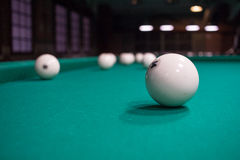 Close-up of Russian billiard, balls on green game table Royalty Free Stock Photos
