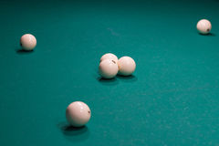 Close-up of Russian billiard game, balls on green cloth Stock Photography