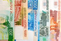 Close up Russian currency note. Ruble or RUB royalty free stock images