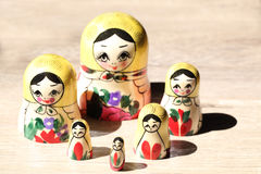 Close up of Russian Dolls. Royalty Free Stock Images