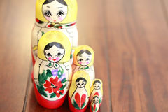 Close up of Russian Dolls. Royalty Free Stock Photos
