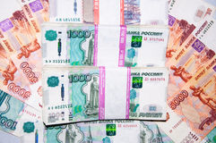 Close-up Russian multi banknotes. Royalty Free Stock Photo