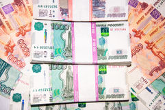 Close up Russian multi-ruble banknotes. Stock Images