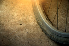 Bicycle wheel and flat tyre Royalty Free Stock Photos