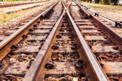 Close up the rusted train tracks Royalty Free Stock Image