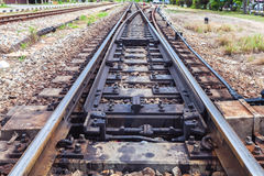 Close up the rusted train tracks Stock Photography