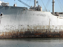 Close-up of Rusted Warship in the water Stock Photo