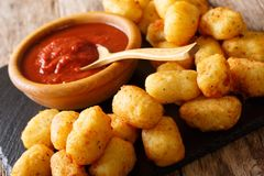 Close up of rustic golden potato tater tots and ketchup. Horizon. Close up of rustic golden potato tater tots and ketchup on the table. Horizontal Stock Images