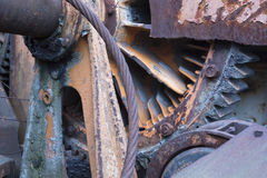 Close up of rusting metal cogs Royalty Free Stock Photography