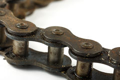Close up of a rusty bike chain Royalty Free Stock Photo