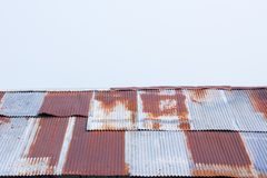 Close up a rusty corrugated iron metal sheet Royalty Free Stock Photo