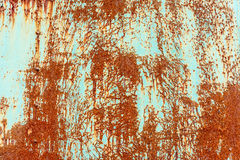 Close up of rusty flaking steel plate with light blue color. Stock Images