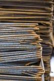 Close-up of Rusty High Tensile Deformed Steel Bar Stock Image
