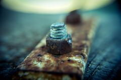 Close up of rusty nut and bolt Royalty Free Stock Photography