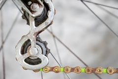 close up rusty old metal rear derailleur on rear wheel of vintage bicycle shutterstock royalty free stock photo
