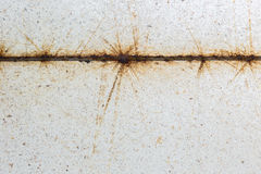 Close up rusty on the steel and dirty white terrazzo floor Stock Image