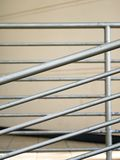 Close-up of rusty steel handrails. Close-up of rusty silver color steel handrails making horizontal lines and diagonal lines royalty free stock photography