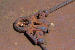 Close up of a rusty vintage metal ornament stock image