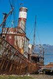 Close-up of rusty whaler moored by jetty stock photo