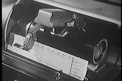 Close-up 1940s audio recording device stock footage