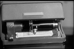 Close-up of  1940s audio recording device stock footage