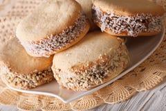 Close-up saboroso das cookies de Alfajores em uma placa horizontal imagem de stock royalty free