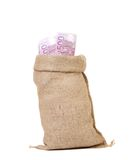 Close up of  sack with euro bills Royalty Free Stock Images