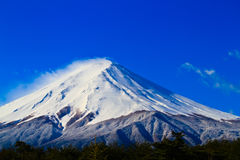 Close up of sacred mountain of Fuji on  top covered with snow in Royalty Free Stock Image
