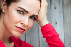 Close-up of sad and depressed woman Royalty Free Stock Photo