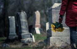 Close-up of a Sad in front of a Gravestone. Close-up of a Sad Woman Holding Sunflowers in front of a Loved one's Gravestone. Focus on the Bouquet stock photo