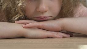 Close-up of sad and unhappy child, worrying about personal issues, struggles
