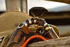 Close up of saddle in a stable. Stock Photo