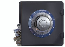 Close up of a safe lock and cash concept of solution and success Royalty Free Stock Photography