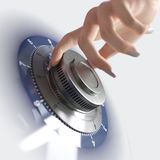 Close up of a safe lock and woman hand  image for security and business Royalty Free Stock Images