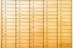 Safety deposit boxes. Close-up of safety deposit boxes royalty free stock photography